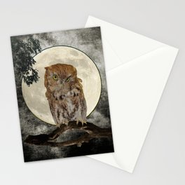 Rustic Adorable Owl Moon Bird  A272 Stationery Cards