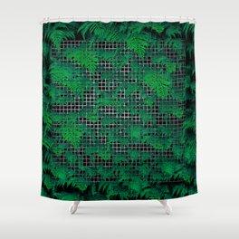 Fern Grid Plant Wall Shower Curtain