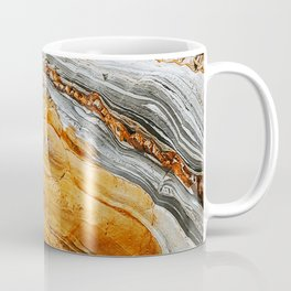 Gray Copper Marbled Petrified Wood Coffee Mug