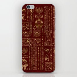 Egyptian hieroglyphs and symbols gold on red leather iPhone Skin