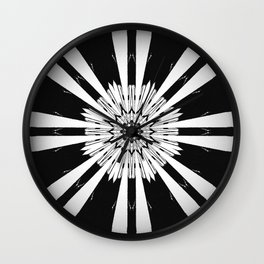 Bold Black and White Stripe Modern Star Design Wall Clock