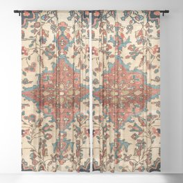 Sarouk Poshti West Persian Rug Print Sheer Curtain