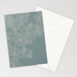 Blue Inked Orchids Stationery Cards