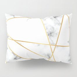 Stone Effects White and Gray Marble with Gold Accents Pillow Sham