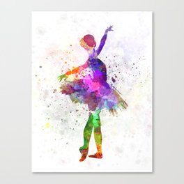 Young woman ballerina ballet dancer dancing with tutu Canvas Print