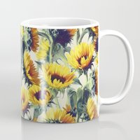 retro Mugs featuring Sunflowers Forever by micklyn