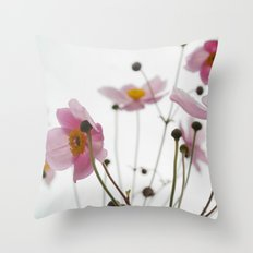 Pink Wild Flowers Throw Pillow