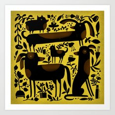GARDEN DOGS Art Print