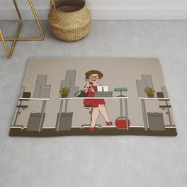 Sixties Secretary with a Typewriter Rug