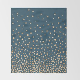 Chic Gold and Teal Rising Confetti Throw Blanket