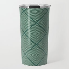 Stitched Diamond Geo Grid in Green Travel Mug