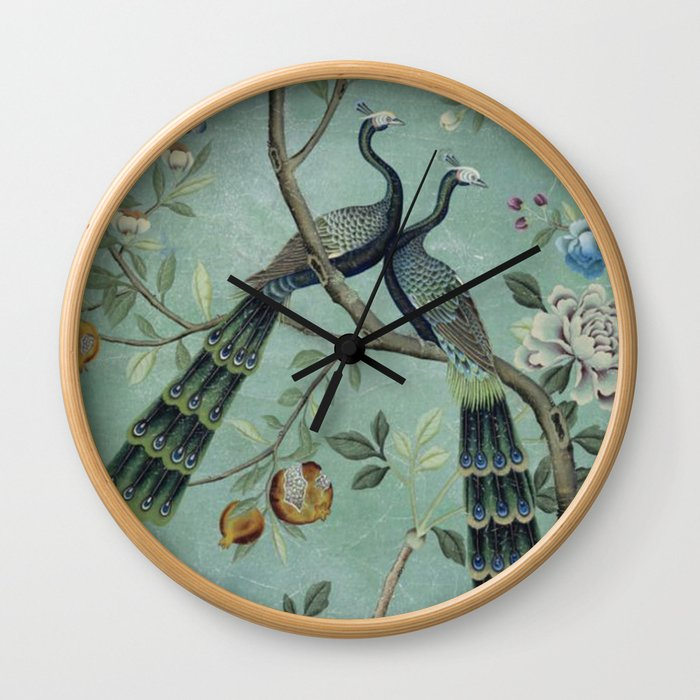 A Teal of Two Birds Chinoiserie Wall Clock