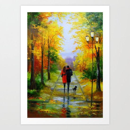 Walk in the early autumn Art Print