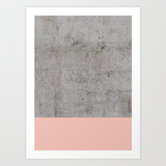 Pale Pink on Concrete Art Print