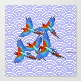 MODERN ART BLUE & RED TROPICAL MACAWS IN FLIGHT ART f Canvas Print
