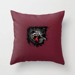 Scary Night Wolf Throw Pillow
