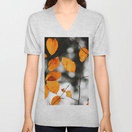 Orange Leafs (Color) Unisex V-Neck