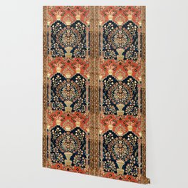 Kashan Poshti  Antique Central Persian Rug Print Wallpaper