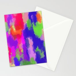 pink purple blue green and orange painting texture background Stationery Cards