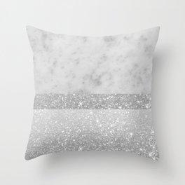 White Marble Silver Gray White Glitter Stripe Glam #1 #minimal #decor #art #society6 Throw Pillow