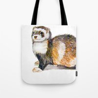 ferret Tote Bags featuring Ferret by Tesseract