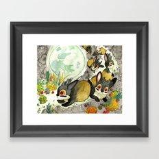 Moonlight (With Jackalopes) Framed Art Print