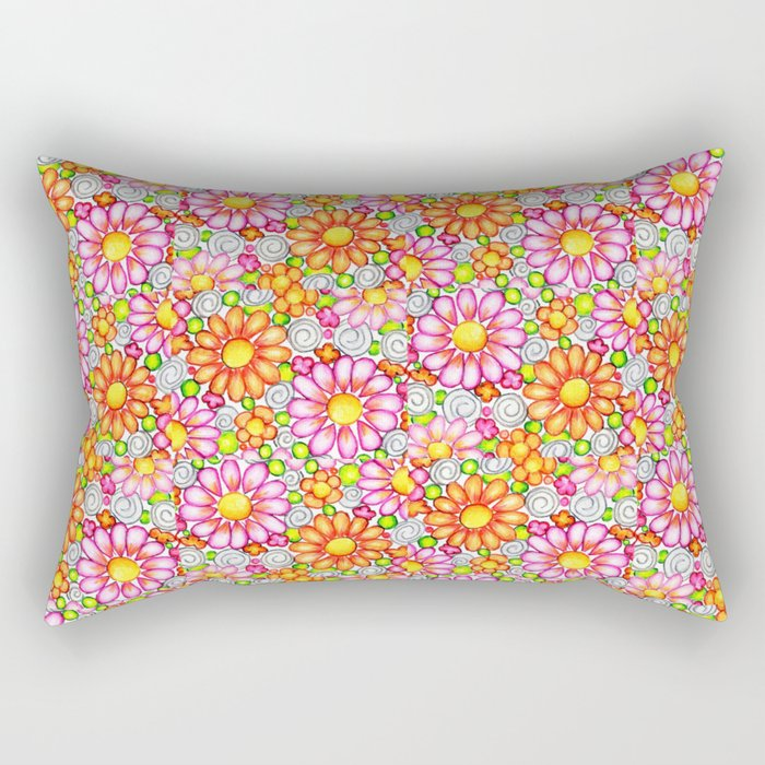 Summer Daisies Tiled Pattern Rectangular Pillow