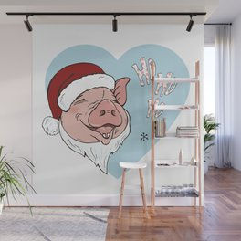 Pig in Santa costume Wall Mural