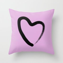 Simple Love - Minimalistic simple black love heart brush stroke on a pink background Throw Pillow