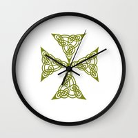 marc johns Wall Clocks featuring Lindisfarne St Johns Knot Grunge by taiche