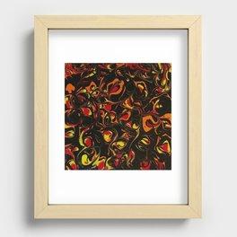Fireball Swirls Fluid Art Abstract Bloom Painting Recessed Framed Print