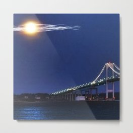 Full Moon and the Newport Bridge at Twilight- Newport, Rhode Island Metal Print