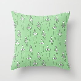 Holiday Ornament Pattern in Green Throw Pillow