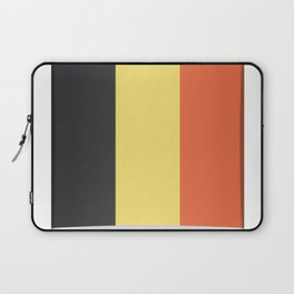 Flag of Belgium. The slit in the paper with shadows. Laptop Sleeve