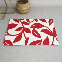 LEAF PALM VINE IN RED AND WHITE PATTERN Rug