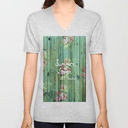 Summer Lover With Flowers | Vintage Floral pattern Teal Striped Wood Unisex V-Neck