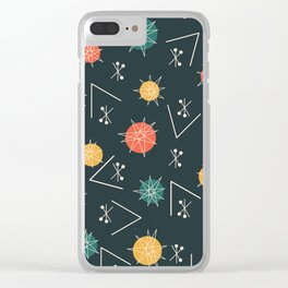 Mid Century Modern Sputnik Starburst Planets 5 Clear iPhone Case