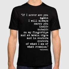 Charles Bukowski Typewriter White Font Quote Centers Black Mens Fitted Tee MEDIUM