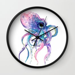Octopus, Pink purple sea animals design underwater scene painting Wall Clock