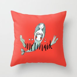 Art red sleeping mermaid Throw Pillow