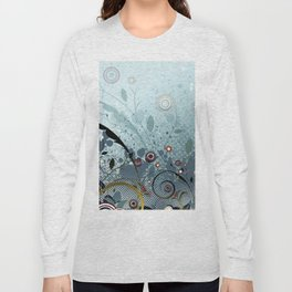 Blue Mystery Forest of Flowers and Tendrils Long Sleeve T-shirt
