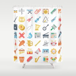 CUTE MUSICAL INSTRUMENTS PATTERN Shower Curtain