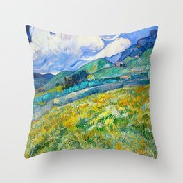 Mountain Landscape behind the Saint Paul Hospital Painting by Vincent van Gogh 1889 Throw Pillow