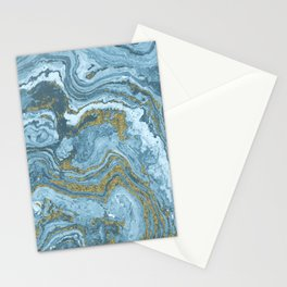 Gold Waves on Blue Stationery Cards