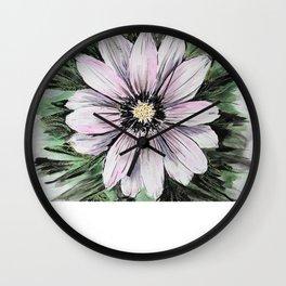 Pink Daisy mixed media painting Wall Clock