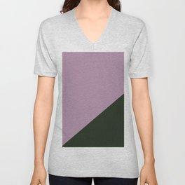 Faded purple & Army Green - oblique Unisex V-Neck