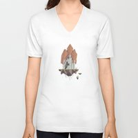 low poly V-neck T-shirts featuring Low Poly Autumn Bear by scarriebarrie
