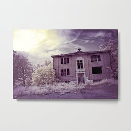 Old Edmonton High School | Infrared in Purple Metal Print