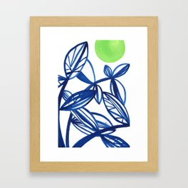 Navy blue and lime green abstract leaves Framed Art Print