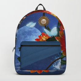Funny cute parrot with flowers Backpack